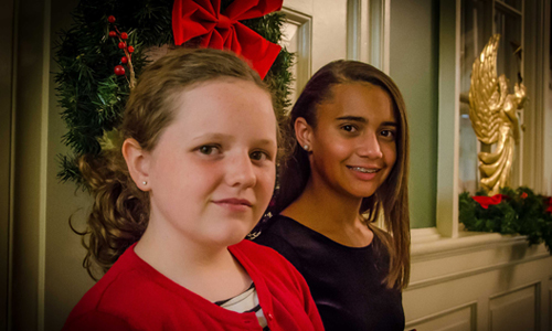 Mollie Terrill (left) and her cousin Lexi Cole, both 11, planned a Christmas craft fair that raised more than $1,000 for the Lottie Moon Christmas Offering for International Missions. (Photo by Marilyn Stewart)